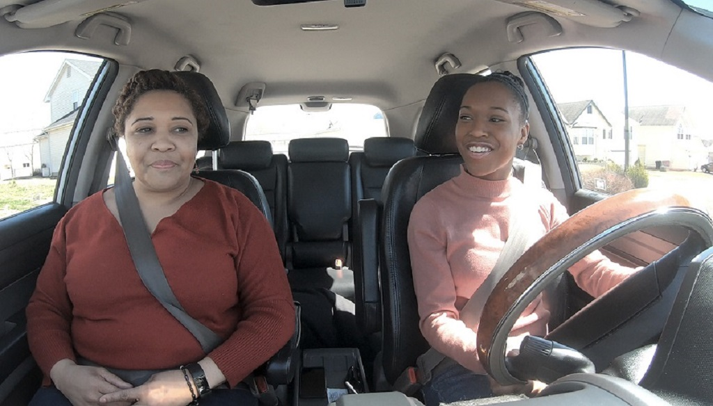 Video preview of CiCi praciting driving with her mother Latisha.