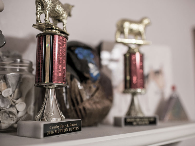 Close up image of Dacie's trophies and awards.