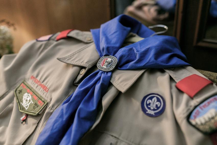 Close up image of Zach's Eagle Scout badges.